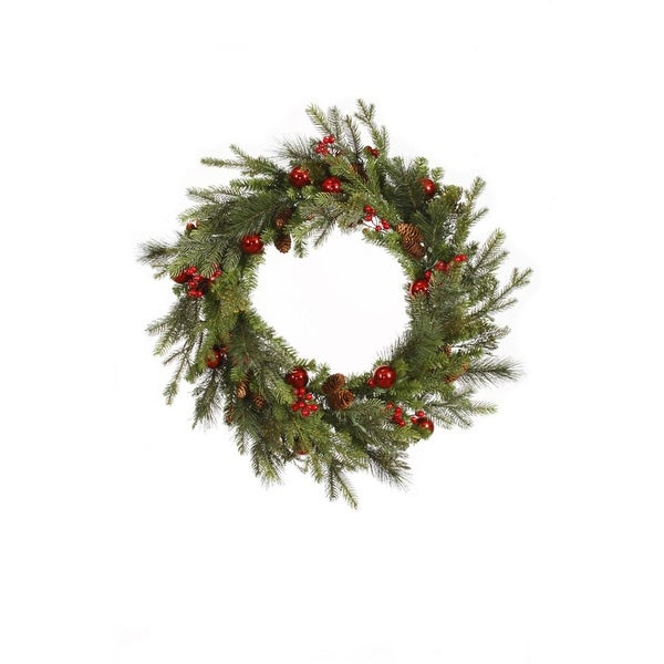 """24"""" Red Berry and Ball Ornament Mixed Pine Artificial Christmas Wreath - Unlit"""