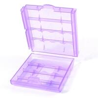 Unique Bargains Portable Purple Plastic Battery Holder Case Box for 4 AA AAA Type Batteries