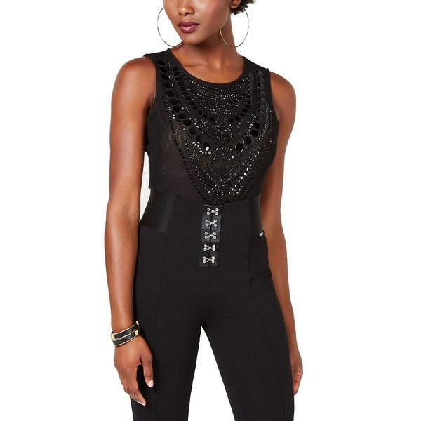 5bebbc11e9843a Shop Guess Black Women's Size Small S Embellished Bodysuit Blouse - On Sale  - Free Shipping On Orders Over $45 - Overstock - 28354319