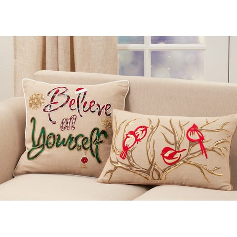 Embroidered Pillow With Bird and Branch Design