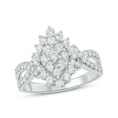 Cali Trove 10KT White Gold with 1 ct TDW Fashion Ring.