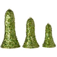 Set of 3 Christmas Brites Green Sequined Bell-Shaped Christmas Ornaments
