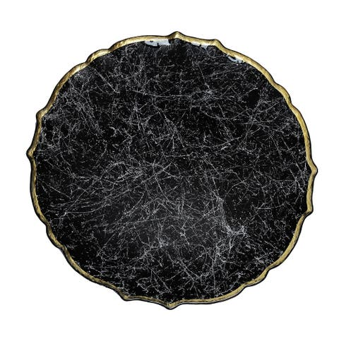 """Alice Pazkus 13"""" Sprinkled Black Charger Plate With Gold Tone Rim"""