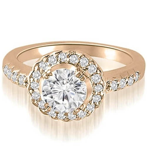 1.00 cttw. 14K Rose Gold Halo Round Cut Diamond Engagement Ring