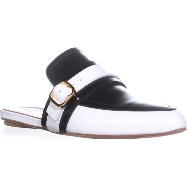 MARNI SBMSW03 Backless Loafers, Stone White/Black