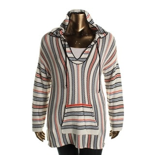 Two by Vince Camuto Womens Striped V-Neck Hoodie