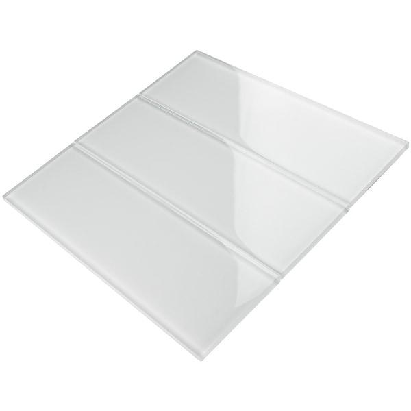 """TileGen. 4"""" x 12"""" Glass Subway Tile in White Wall Tile (30 tiles/10sqft.). Opens flyout."""