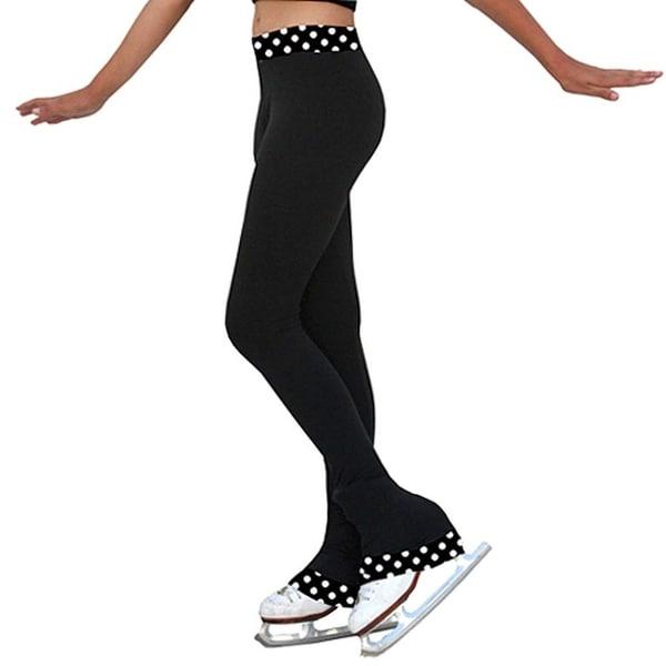 ChloeNoel Black White Dot Ice Skating Pants Girls 5-12 Adult XS-XL