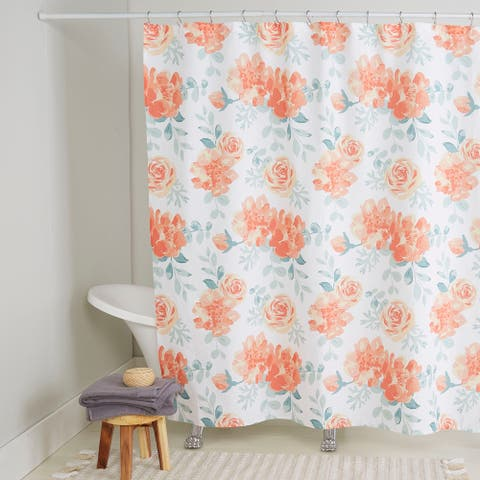 "Nicole Miller Cotton Shower Curtain, Rosa, 72""x72"""