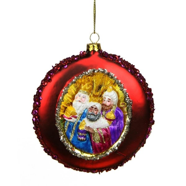 "4"" Three Wise Men Sequin Religious Christmas Glass Disc Ornament"