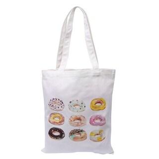 Canvas Doughnut Print Shoulder Strap Tote Shopping Trinket Holder Bag Handbag