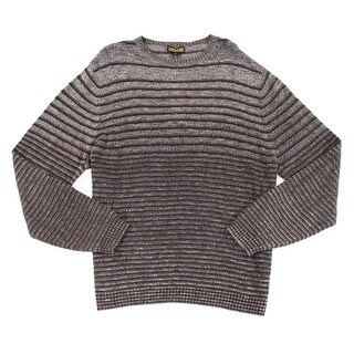 LENOR ROMANO NEW Solid Brown Mens Size 2XL Striped Crewneck Sweater