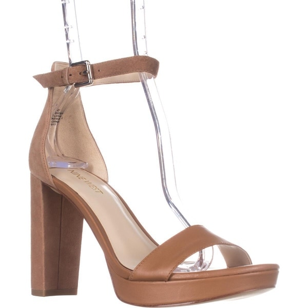 Nine West Dempsey Ankle Strap Dress Sandals, Dark Natural/Dark Natural