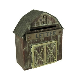Rustic Metal Barn Decorative Farmhouse Letter Box Wall Hanging - 14.5 X 13 X 6 inches