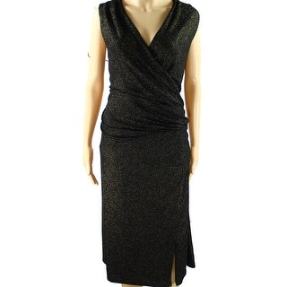 Ralph Lauren Black Gold Women Plus Metallic Sheath Dress 18W