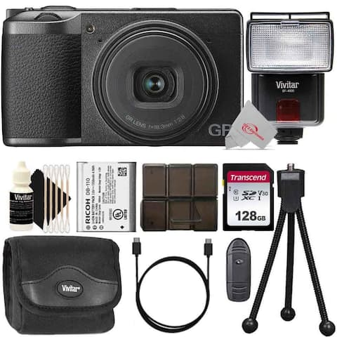 Ricoh GR III Digital Camera + 128GB Memory Card + Card Holder + Card Reader + Case + Flash + Mini Tripod + 3pc Cleaning Kit