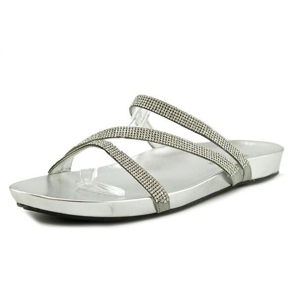 Marc Fisher Kalifa Women Open Toe Canvas Silver Slides Sandal