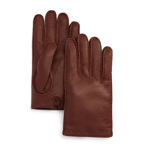 The Men's Store Gloves Brown Size Small S Deer Skin Tech Tip Cashmere