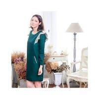 Girls Green Magic Bean Ruffle Shoulder Accents Shift Dress
