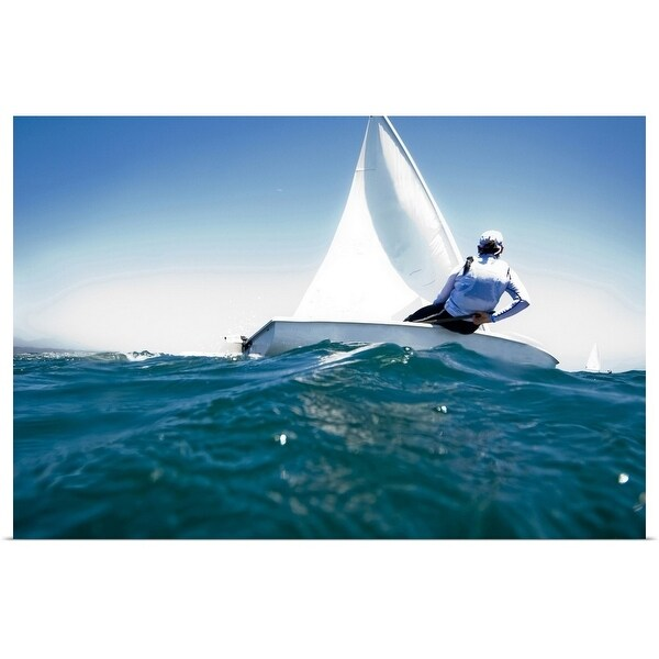 """""""A female athlete races a boat during a training session in Mexico."""" Poster Print"""