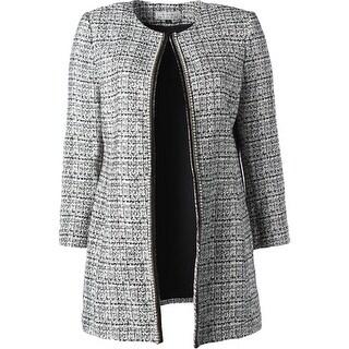 Tahari ASL Womens Plus Jacket Long Sleeves Boucle