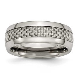 Chisel Titanium & Grey Carbon Fiber 8mm Polished Band
