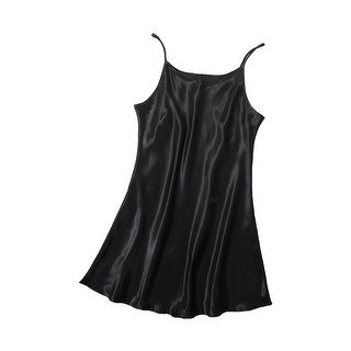 Women Silky Plus Size Lotus Leaf Hem Basic Slip Dress Nightgown
