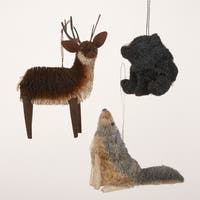 """Pack of 12 In the Birches Deer, Black Bear & Wolf Christmas Figure Ornaments 5"""" - multi"""