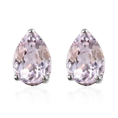 Platinum Over Sterling Silver AA Kunzite Stud Elegant Earrings Ct 3