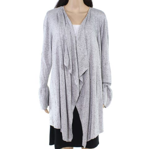 Style & Co Womens Sweater Gray 2X Plus Speckled Flounce Sleeve Cardigan