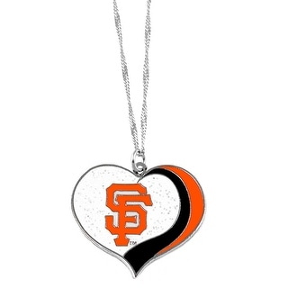 San Francisco Giants MLB Glitter Heart Necklace Charm Gift