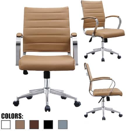 Modern Designer Mid-back Ribbed Faux Leather Tilting Task Chair