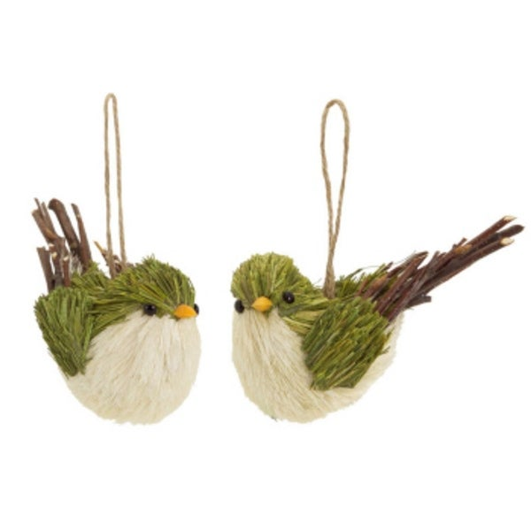 Club Pack of 12 Green and Brown Bird Christmas Decorations 2.5""