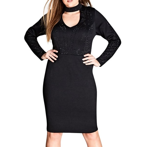 0a30b1aae9b3b Shop City Chic Black Womens Size 22 Plus Studded Choker Sheath Dress ...
