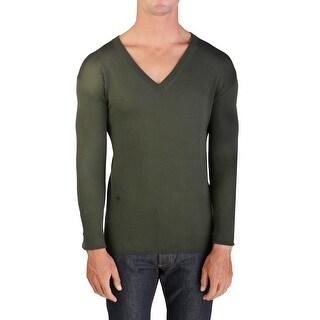 Dior Homme Virgin Wool V-Neck Sweater Olive Green
