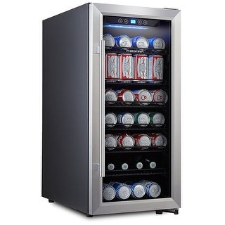 Phiestina PH-CBR100 106 Can Beverage Cooler Stainless-Steel Door with Handle  sc 1 st  Overstock & Shop Phiestina PH-CBR100 106 Can Beverage Cooler Stainless-Steel ...