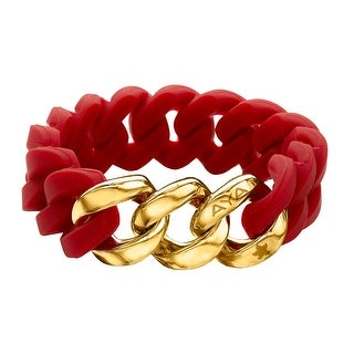Silix by Aya Red Silicon Bracelet with 18K Gold-Plated Stainless Steel - Yellow