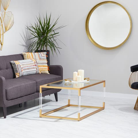 Gold Iron Contemporary Coffee Table 19 x 46 x 26 - 46 x 26 x 19