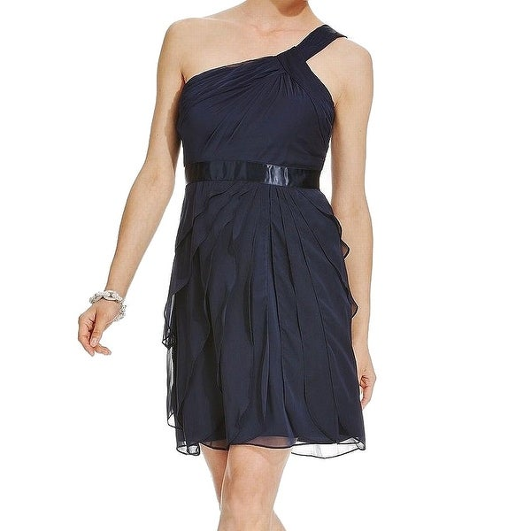 Adrianna Papell Navy Blue Womens Size 8 Tiered Chiffon Sheath Dress