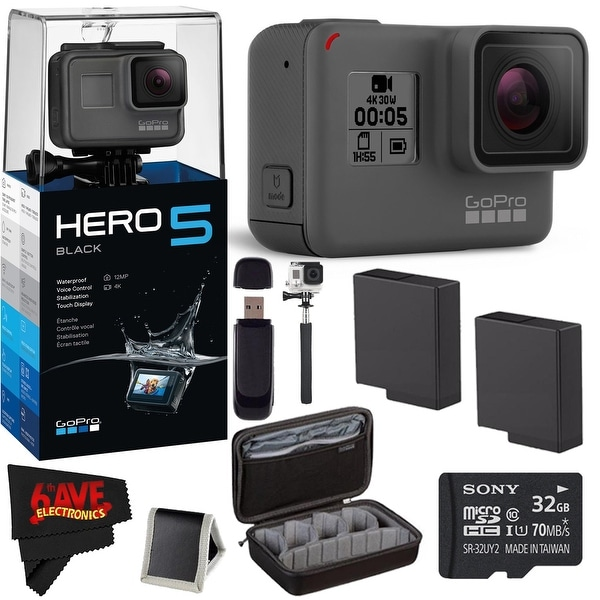 GoPro HERO 5 Black + 32GB Memory Card + (2) Rechargeable Batteries Advanced Accessories Combo