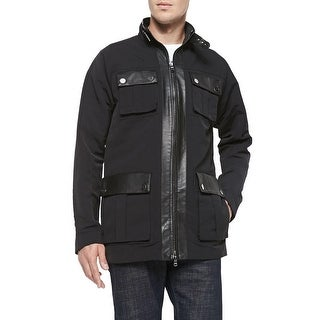 Michael Kors Tech Canvas Utility Black Jacket Large With Real Leather Trim