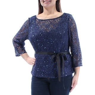 ALEX EVENINGS $139 Womens New 1221 Navy Sequined Tie Evening Top 1X Plus B+B