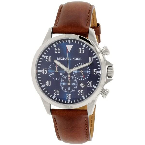 6c7470aa9da8 Shop Michael Kors Men's Gage Brown Leather Quartz Fashion Watch ...