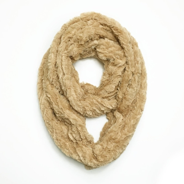 "Super Soft Faux Synthetic Fur Warm Infinity Loop Circle Scarf - Beige - one size: 6"" wide, 62"" around"