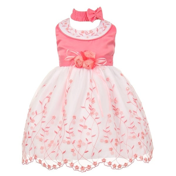 Baby Girls Bubble Gum White Floral Jeweled Easter Flower Girl Bubble Dress 3-24M