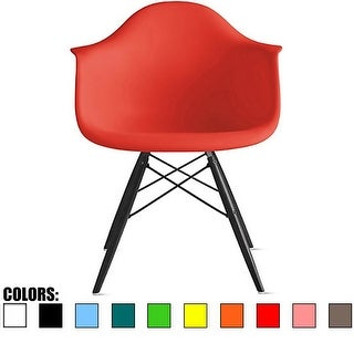 2xhome Red Eames Dining Room Arm Chair With Black Wooden Eiffel Style Legs