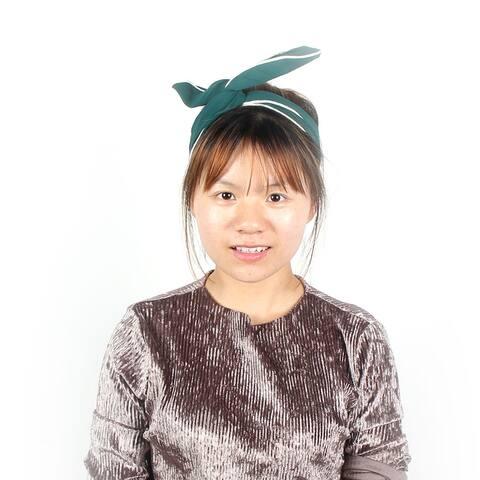 Twist Wired Adjustable Hairdressing Headband Hairband Hair Scraf Dark Green - White,Dark Green