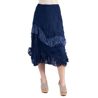 24seven Comfort Apparel Womens Lightweight Lace Midi Skirt