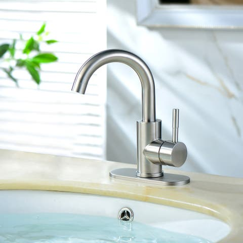Brushed Nickel Single Handle Bar Sink Faucet with Deck Plate and Hose