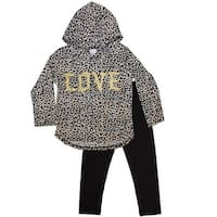 Girls Pink Little Girls Brown Leopard Pattern Hooded 2 Pc Pant Outfit